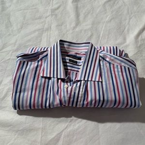 Camicissima Size 17 Striped Long Sleeve Shirt